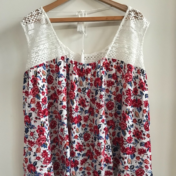 Warehouse One - Lace and Cotton Tank top -Sx 3X